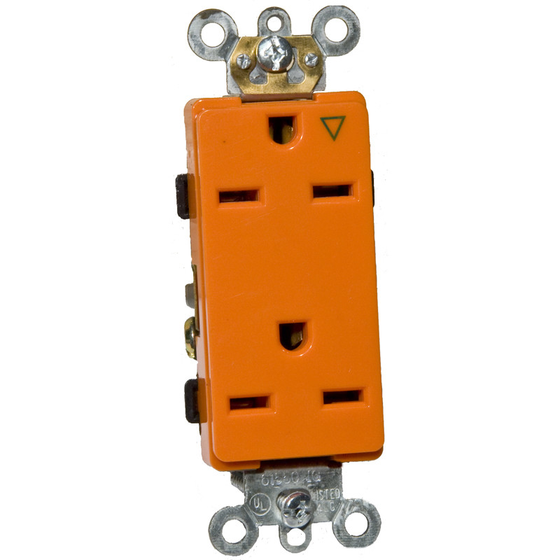 Morris Products 15A-250V Decorator Isolated Ground Duplex Receptacle in Orange