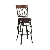 Linon Four Oval Back Bar Stool, Brown, 30 inch Seat Height