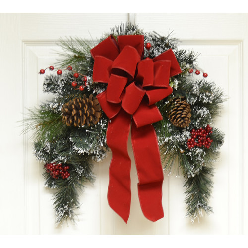Floral Home Decor Snow Flocked  Christmas Door Swag