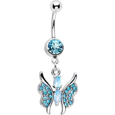 Blissful Blue Charming Butterfly Drop Belly Button Ring (Double Drop Belly Ring)