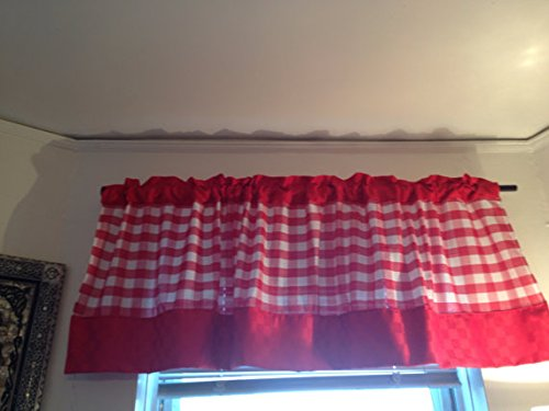 Ku0026m Curtains Red Gingham Valance With Solid Red Boarder