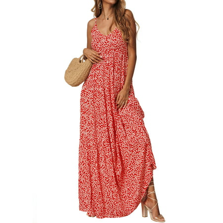 Beach Floral Print Long Maxi Dresses for Women Sleeveless Summer Ladies Boho Beach Wrap Split Dress Flowing Party Sundress for (Party Sundress)