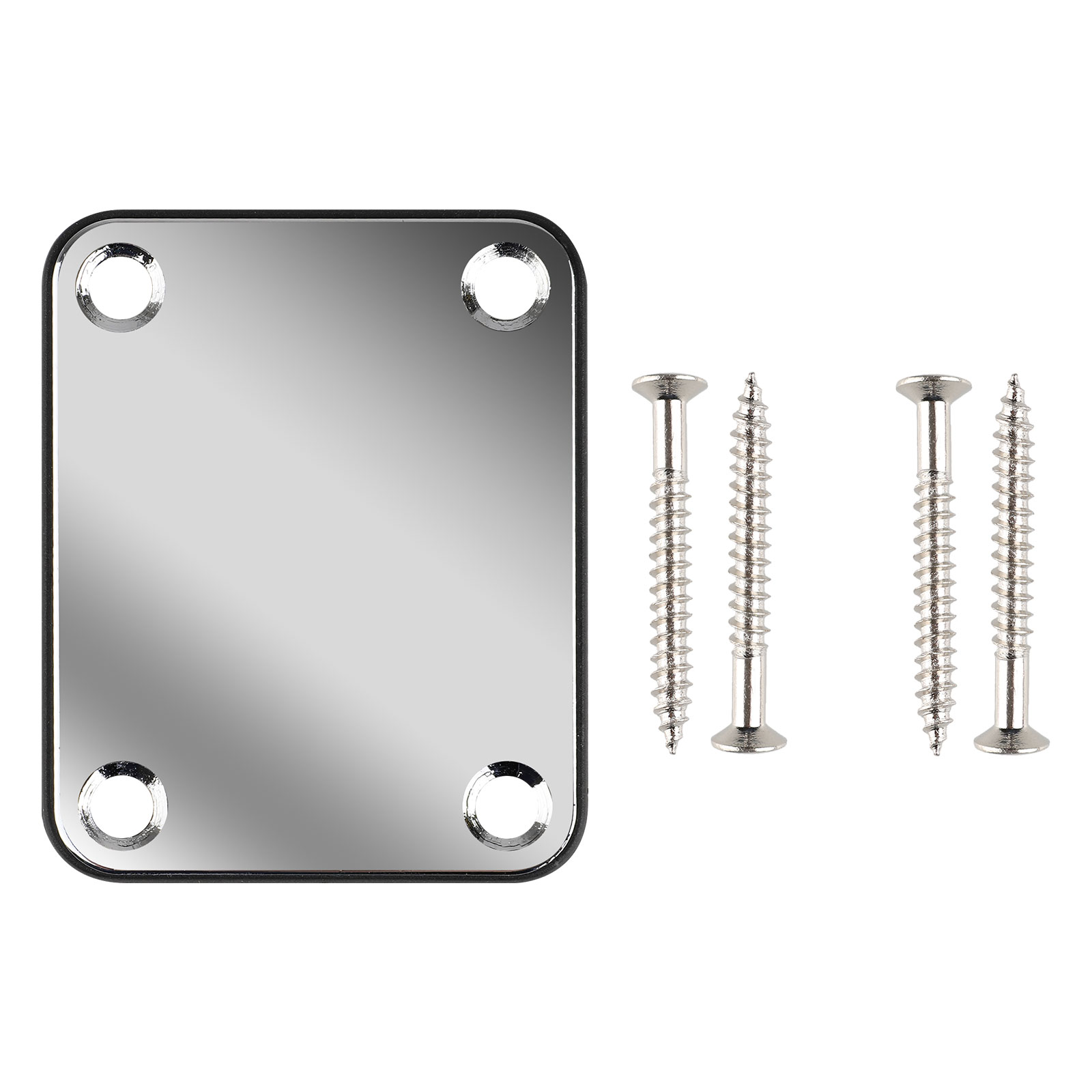 Neck Plate, EEEKit Electric Guitar Bolt Neck Plate Chrome Bass with 4 Screws Accessory Part for Guitar Repairing Making