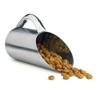 Dry Food Scoop, Metal Small 12 Oz Serving Pet Stainless Steel Scoop