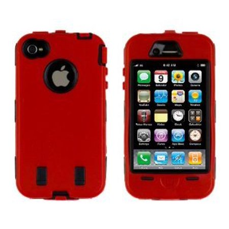 Importer520 Hybrid Body Armor Silicone + Hard Case Cover for Apple iPhone 4, 4S (AT&T, Verizon, Sprint) Red & Black 4s White Hard Case