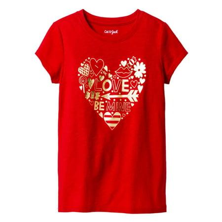 Cat & Jack Girls Red Gold Word Heart Valentine Short Sleeve Tee Shirt T-Shirt (Red Girls Christmas Coat)