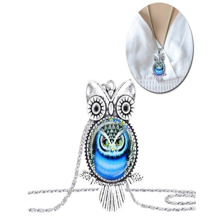 Owl Pendant Necklace Jewelry Vintage Glass Cabochon Necklace