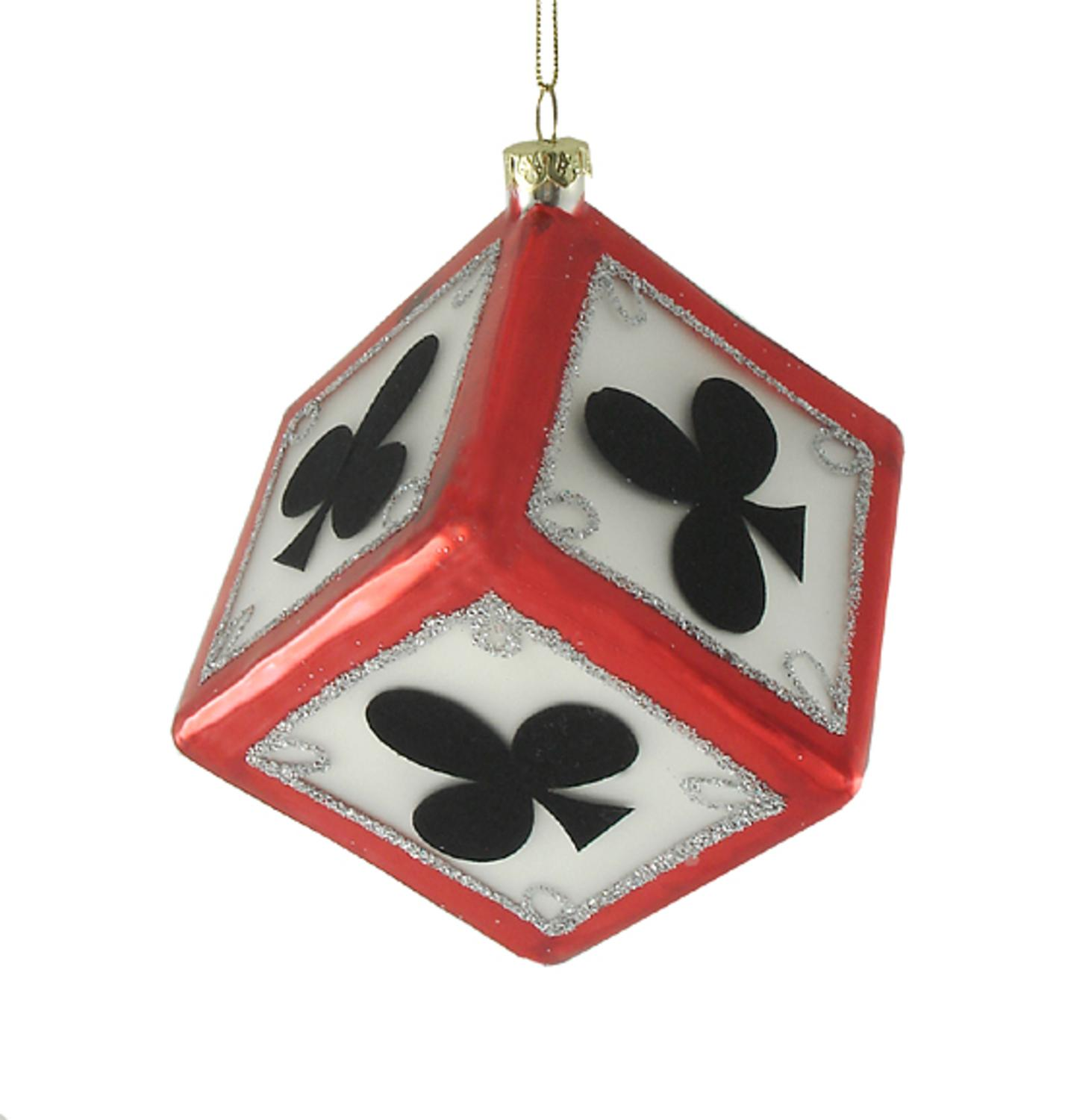 """Sterling 3"""" Clubs Dice Casino Gambling Glass Christmas Ornament - Black/White"""