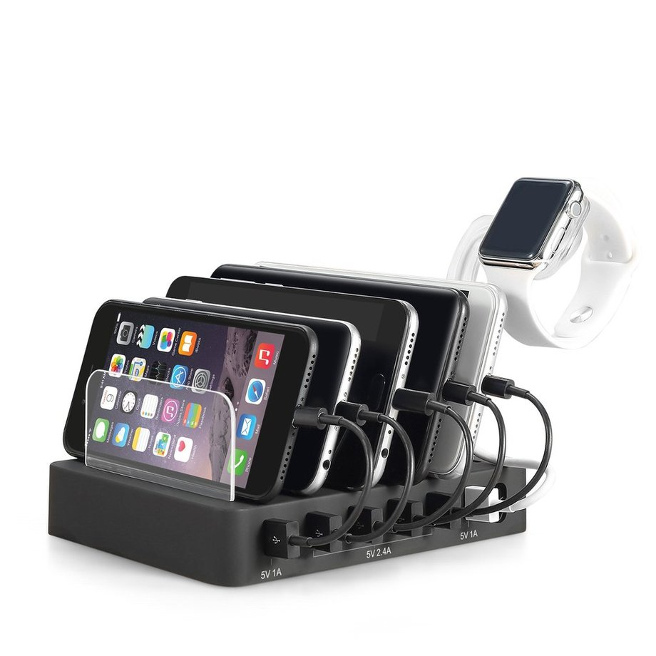 6 Ports USB Charging Dock Station Charger Hub Stand Cradle For Tablet PC Mobile Phone With Watch Bracket Desktop Stand Holder
