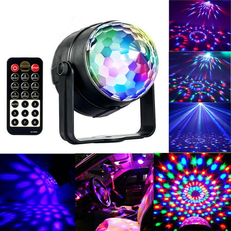 Portworld Disco Ball Party Light 5W RGBWP LED Crystal Rotating Strobe Lamp With Remote Control 7 Color Mini Magic DJ Lighting Sound Activated Club Karaoke Stage Lights Party Supplies