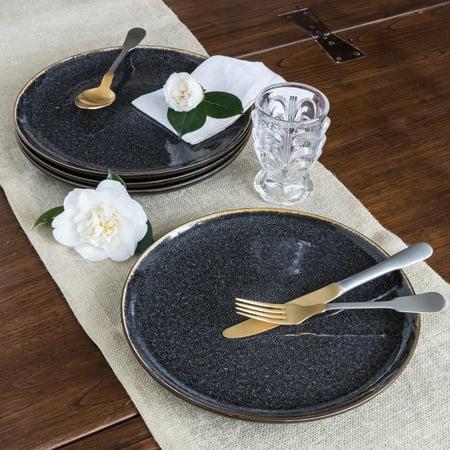 Better Homes & Gardens Burns Dinner Plates, set of 4, Black ()