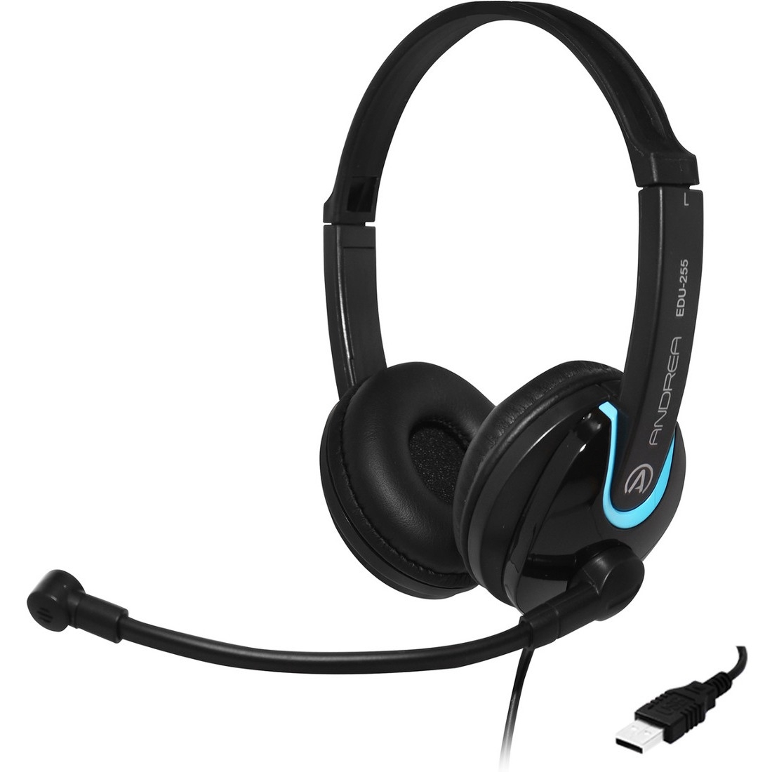 Andrea EDU-255 USB On-Ear Stereo Headset - Stereo - USB - Wired - 32 Ohm - 50 Hz - 20 kHz - Over-the-head - Binaural - Circumaural - 8 ft Cable