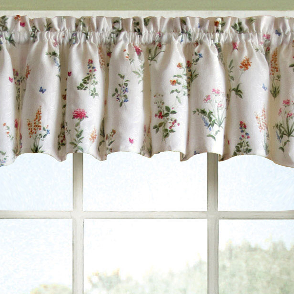 "English Garden Floral White Jacquard Kitchen Curtains 12"" x 55"" Valance"