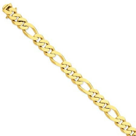 Mens Gold Figaro Bracelet - 14k Yellow Gold 8.5in 11.8mm Hand Figaro Mens Link Bracelet