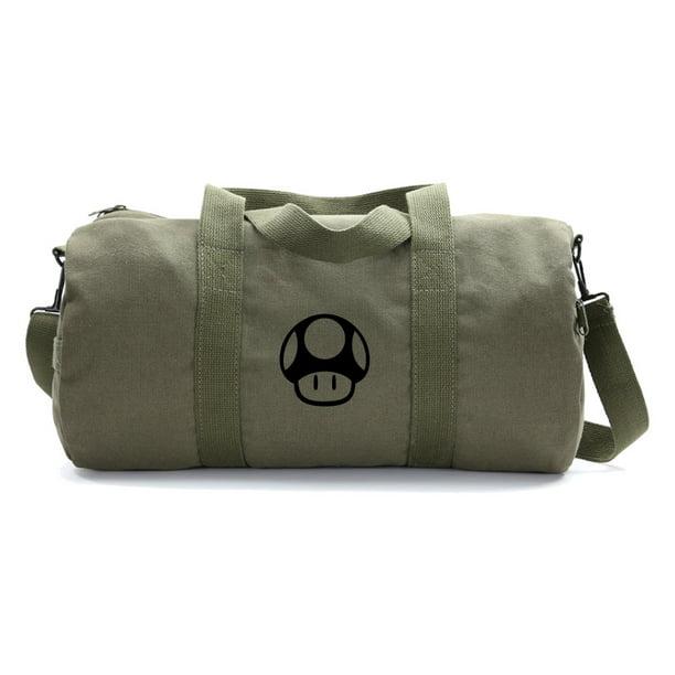 Mario Brothers 1up Mushroom Army Heavyweight Canvas Duffel Bag