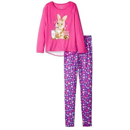 Komar Kids Big Girls' Bunny 2pc Sleepwear Legging Set, Purple, Size: 4 - image 1 of 4