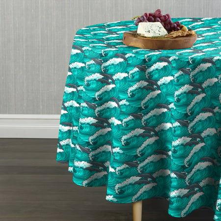 Dolphin Table - Fabric Textile Products Surfing Dolphins Tablecloth 102