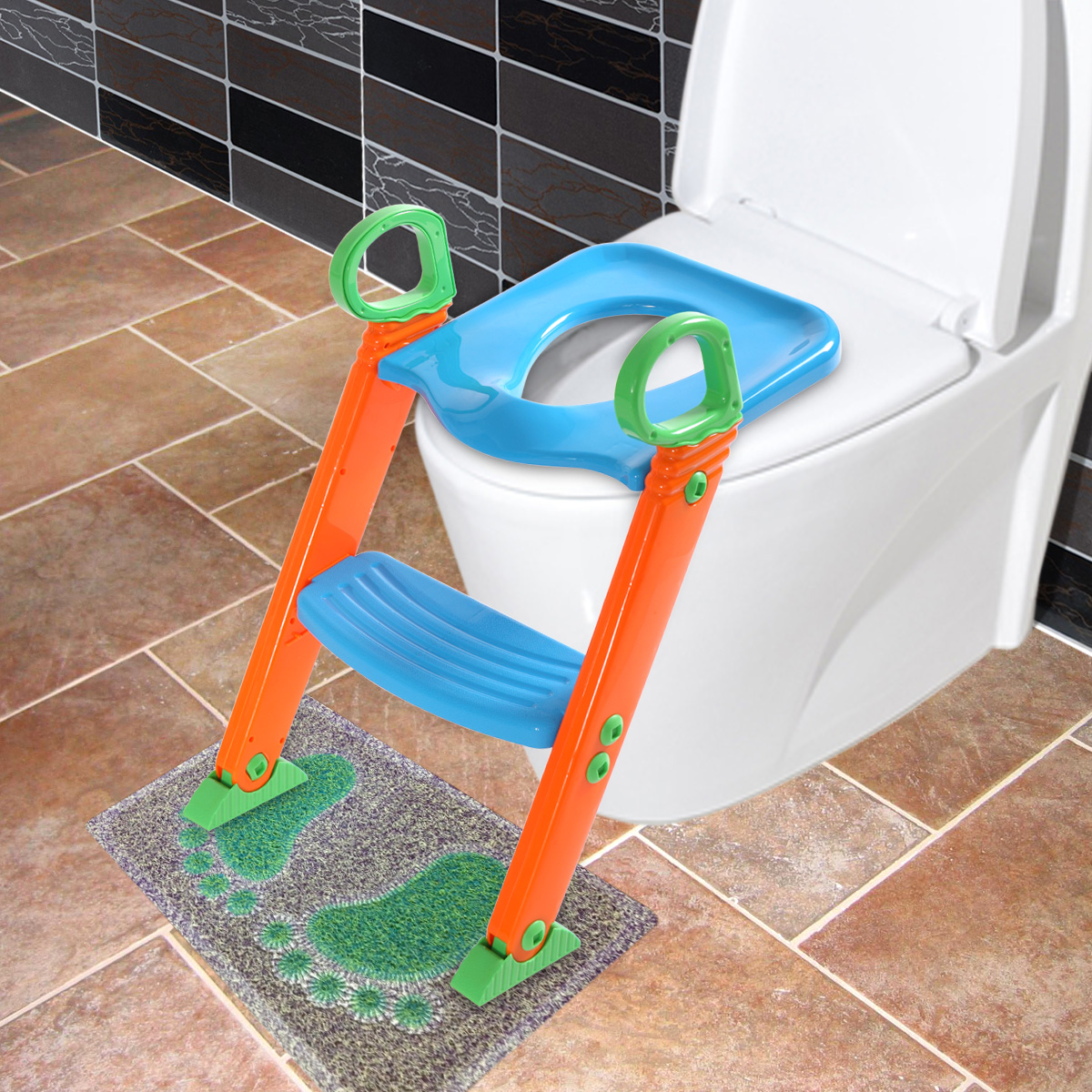 Jaxpety Kids Training Toilet Trainer Toilet Seat Chair Toddler With Ladder Step Up Stool by JAXPETY
