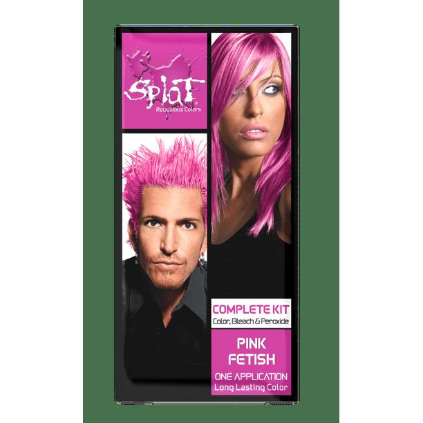Splat 30 Wash Pink Fetish Hair Color Kit Semi Permanent Pink Hair Dye Walmart Com Walmart Com