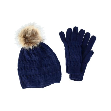 CTM®  Knit Beanie Hat with Pom and Matching Gloves Set (Women's) Ivory Knit Hat