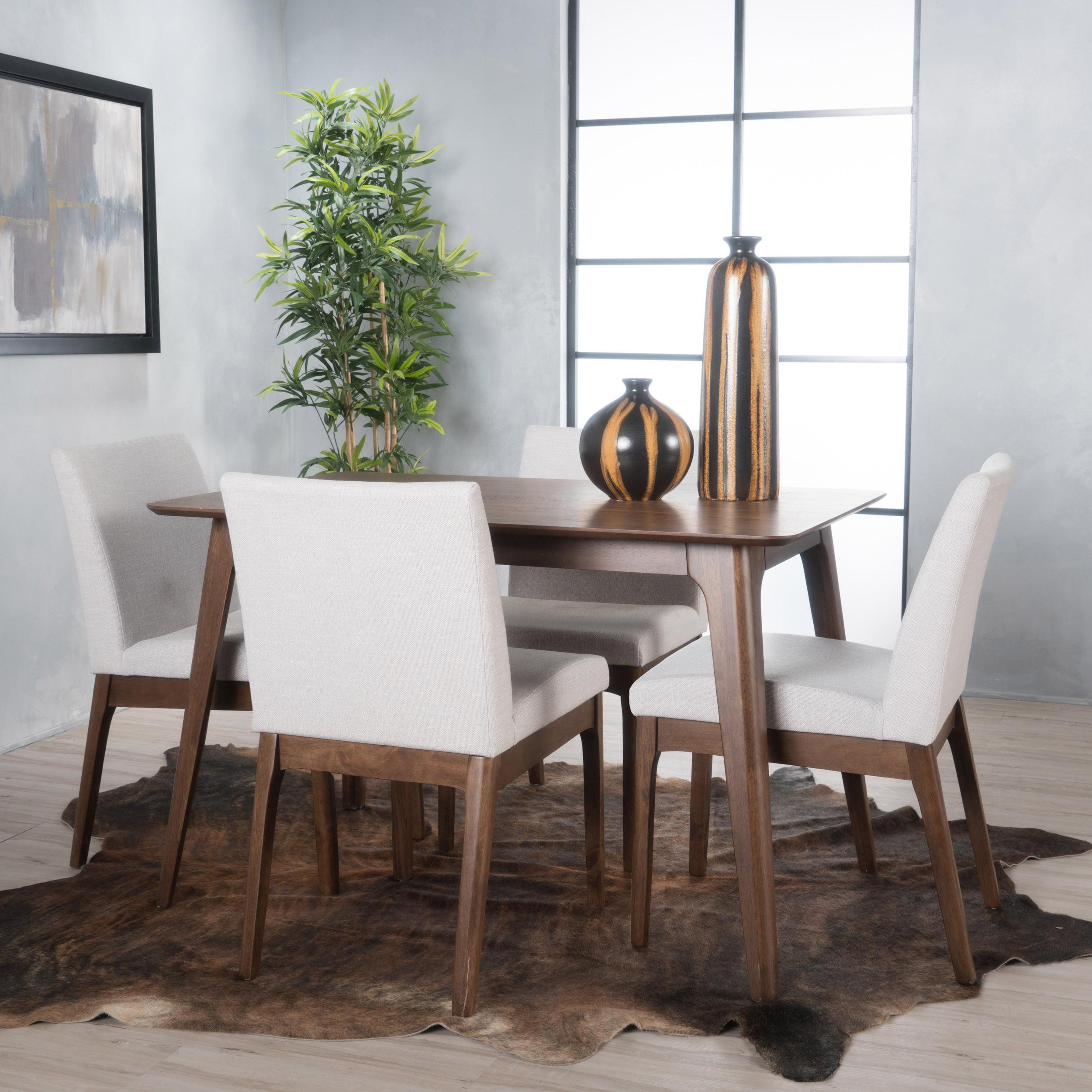 Noble House Caruso Natural Walnut Oak Wood Light Beige 5 Piece Dining Set