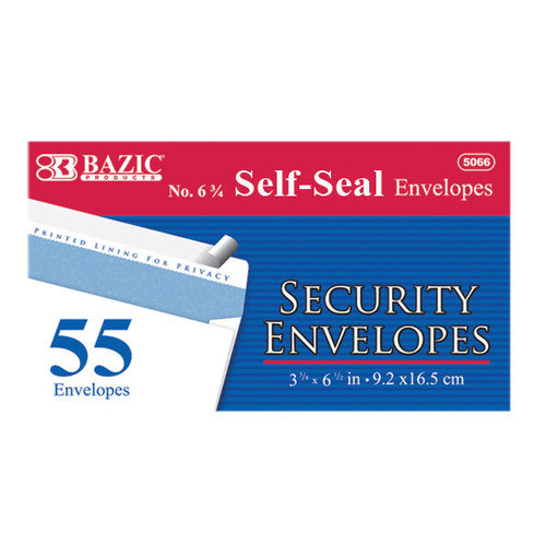 Bazic 55 Ct. Self-Seal Security Envelopes (Set of 24)