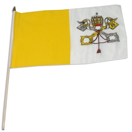 Vatican City Flag, 12 by 18-Inch, Mounted on a 24 inch wooden staff By US Flag Store,USA ()