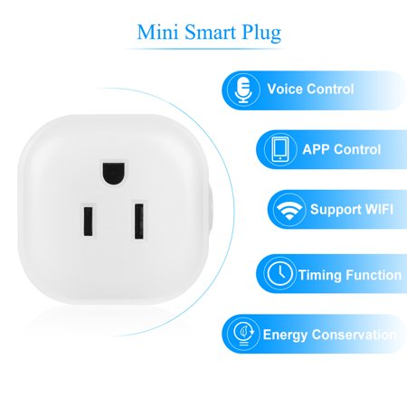 Mini Wifi Smart Socket with Bulgy On/Off Button Smart Outlet Support APP  Remote Control Timing Function Voice Control for for Home/Nest IFTTT No Hub