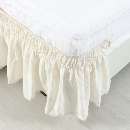 Pleated Bed Skirt Polyester Wrap Around Dust Ruffle Beige King 15 Inch Drop - image 2 de 8