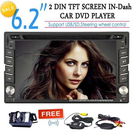Eincar 6.2-inch Double DIN in Dash Car Dvd Player Stereo Touch Screen with Bluetooth USB Sd Mp3 Radio for Universal Car Free Wireless Backup Camera support Steering Wheel Control