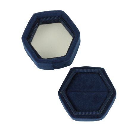 DIY Wedding Koyal Wholesale Velvet Ring Box, Navy Blue, Hexagon Vintage Wedding Ceremony Ring Box with Detachable Lid, 2 Piece Engagement Ring Box Holder, Modern Proposal Idea, Slim Ring Box Display