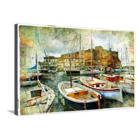Artistic Picture In Painting Style - Boats In Naples Port In Front Of Castle Uovo Stretched Canvas Print Wall Art By Maugli-l