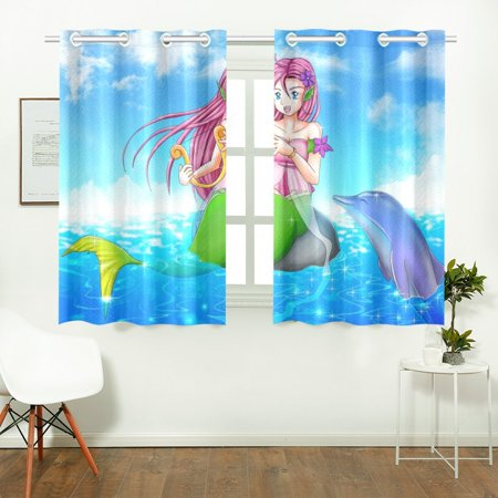YUSDECOR Mermaid Fish Window Curtain Kitchen Curtains Window Treatments 26x39 inch,Set of 2 - image 2 de 3