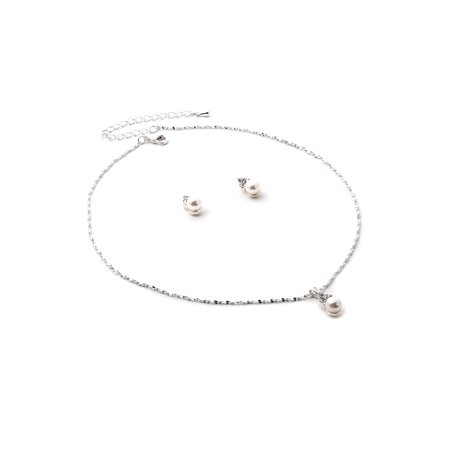 - Silver Chain Necklace with Dangle White Pearl Center and Stud Earrings Jewelry Set