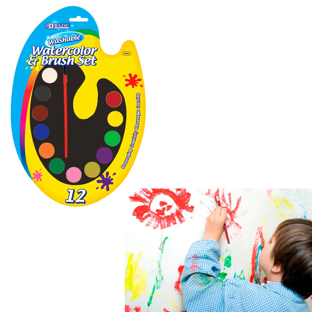 Kid School Watercolor Paint Colors Brush Set Art Craft Artists Painting Washable