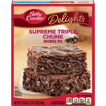 (2 pack) Betty Crocker Delights Triple Chunk Supreme Brownie Mix, 17.8 oz Box