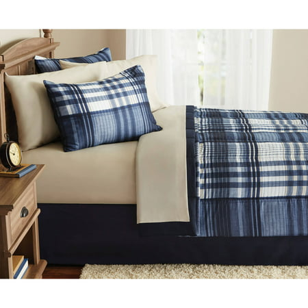 (Mainstays Indigo Plaid Bed-in-a-Bag Complete Bedding Set)
