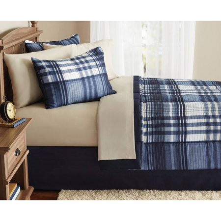 Mainstays Indigo Plaid 6- Piece Bed in a Bag Bedding Comforter Set, Twin