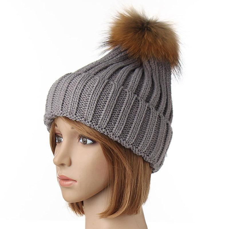 Women/'s Warm Winter Wool Knit Beanie Cap Ski Hat Pom Crochet Hat