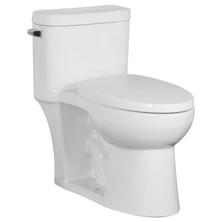 Transolid TBTS-2405-01 Garfield Elongated 1-Piece Vitreous China, Water-Efficient 1.28 GPF, Comfort-Height, All-in-One Toilet Kit with Slow-Close Seat,