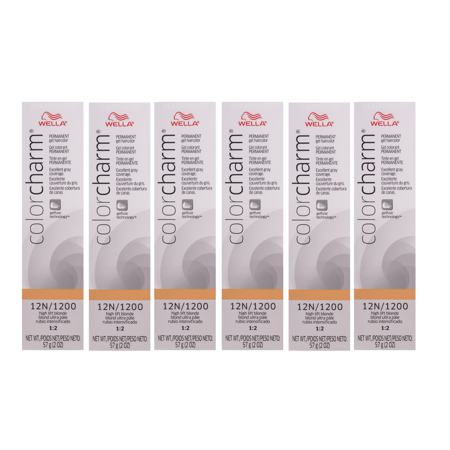 WELLA COLOR CHARM Permanent High Lift Blonde Gel Hair HC-G1200/12N (6 Pack)