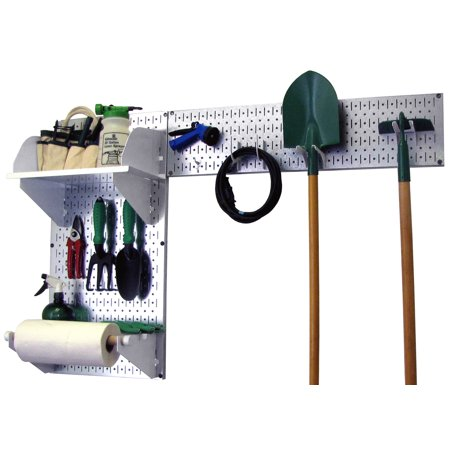 Wall Control Pegboard Garden Tool Board Organizer with Metallic Pegboard and White Accessories