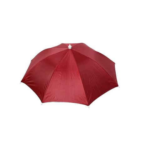 Unique Bargains Fishing Travel Headwear Elastic Headband Umbrella Hat Cap Burgundy for Home Essential](Head Umbrella Hat)