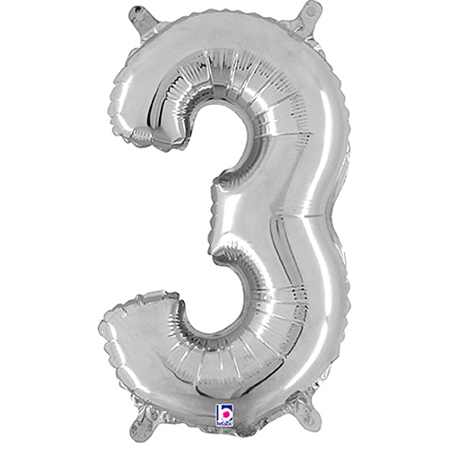 Number 3 Silver Megaloon Junior Balloon