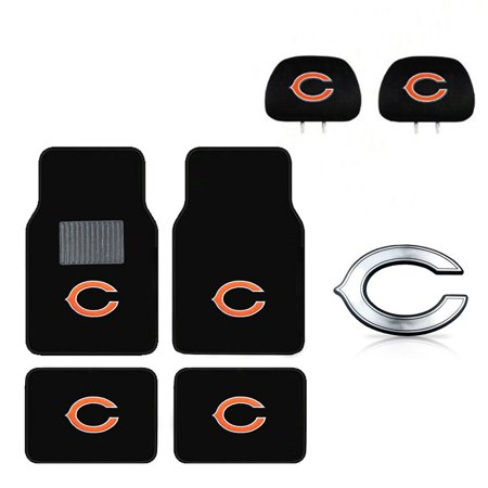 Chicago Bears 4 Pc Carpet Floor Mats And Head Rest Cover With Chrome Decal - Bull And Bear Chicago Halloween