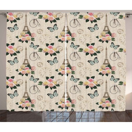 Modern Decor Curtains 2 Panels Set, French Eiffel Tower Shabby Chic Garden Roses Butterfly Flowers Leaves Artwork, Window Drapes for Living Room Bedroom, 108W X 84L Inches, Multicolor, by Ambesonne