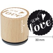 """Woodies Mounted Rubber Stamp 1.35""""-With Love"""