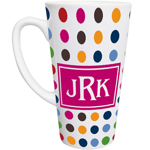 Personalized Polka Dot Latte Mug, Pink