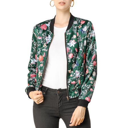 Allegra K Women's Stand Collar Zip Up Floral Prints Bomber Jacket XS Dark Green