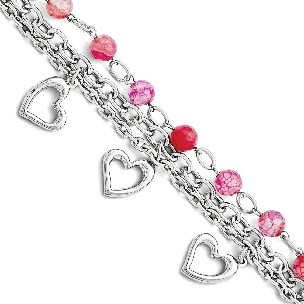Stainless Steel 7.75in Pink Agate w/Hearts Bracelet